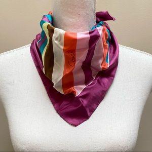 Coach purple multi stripe square silk scarf
